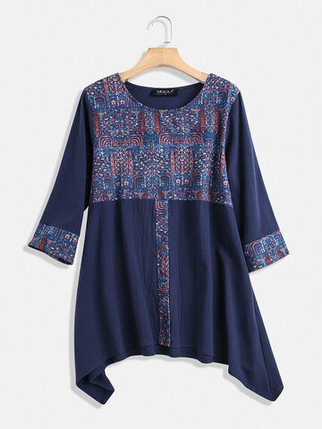 Ethnic Print Patchwork Blouse