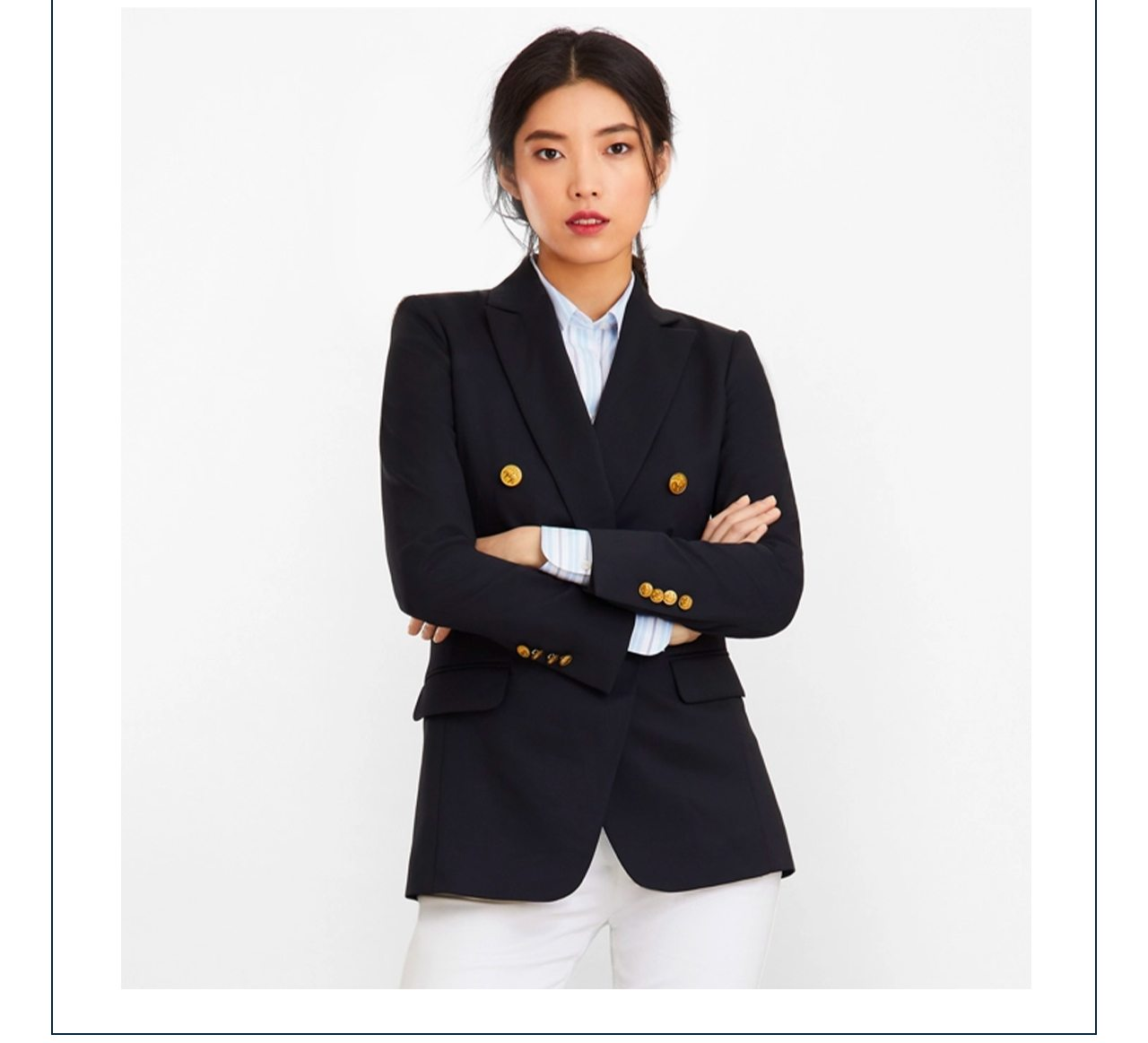 Blazer Focus A classic nautical-inspired navy blazer elevates any look. Extra 25% off for a limited time