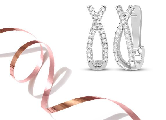 10K White Gold Diamond XO Hoop Earrings