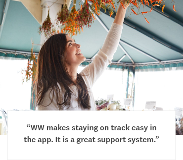 WW makes staying on track easy in the app. It is a great support system.