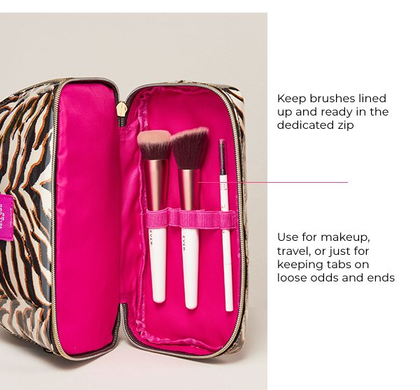 Keep brushes lined up and ready in the dedicated zip compartment