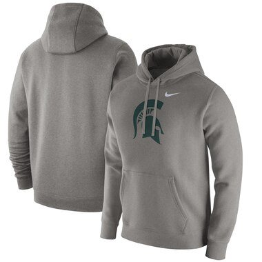 Michigan State Spartans Nike Logo Club Fleece Pullover Hoodie - Heathered Gray