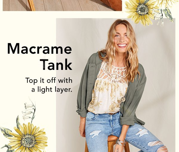 Macrame tank: top it off with a light layer.