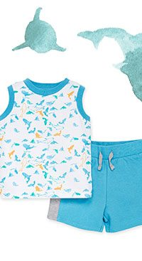 Shark Attack Organic Baby Tank & French Terry Short Set