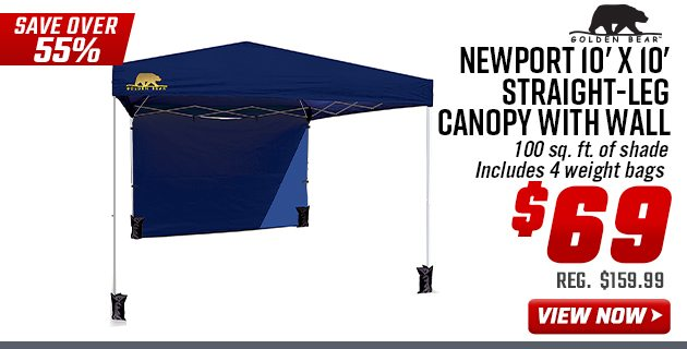 Golden Bear Newport 10'x10' Straight-Leg Canopy with Wall
