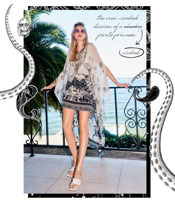 """""""the rum-soaked diaries of a wicked pirate princess"""" CAMILLA black and white layered mini dress"""