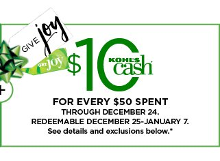 everyone gets 10 kohls cash for every 50 spent shop now - Is Kohls Open On Christmas Day