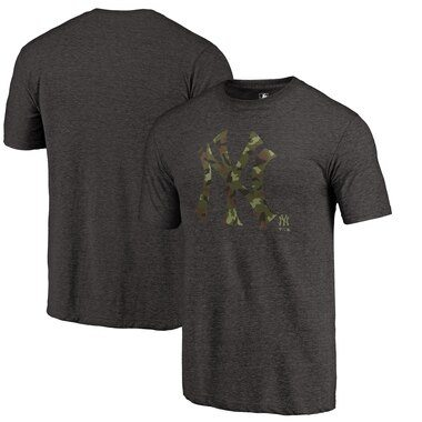 New York Yankees Fanatics Branded 2019 Armed Forces Camo Prestige Tri-Blend T-Shirt – Heather Black