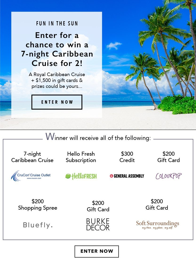 Enter For A Chance To Win A 200 Gift Card A Cruise And More In