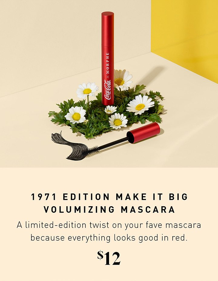 1971 EDITION MAKE IT BIG VOLUMIZING MASCARA A limited-edition twist on your fave mascara because everything looks good in red. $12