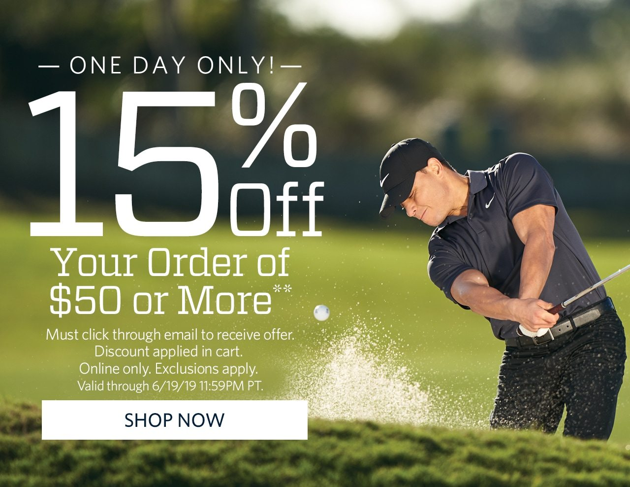 ONE DAY ONLY. TAKE 15% off your order of $50 or more. Must click through to recieve offer. Shop Now.
