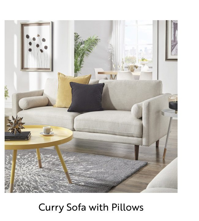 Curry Sofa with Pillows