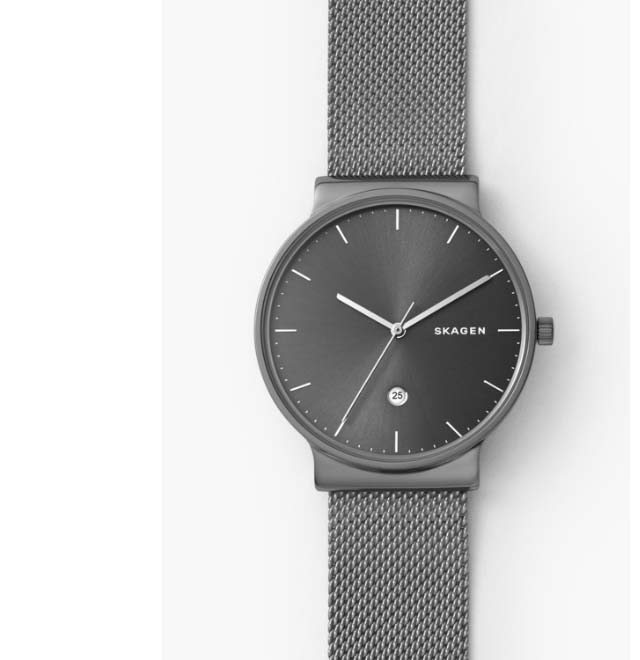 Ancher watch with a grey dial and grey steel-mesh strap.