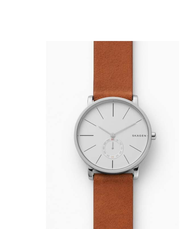 Hagen watch with a white dial and brown leather strap.