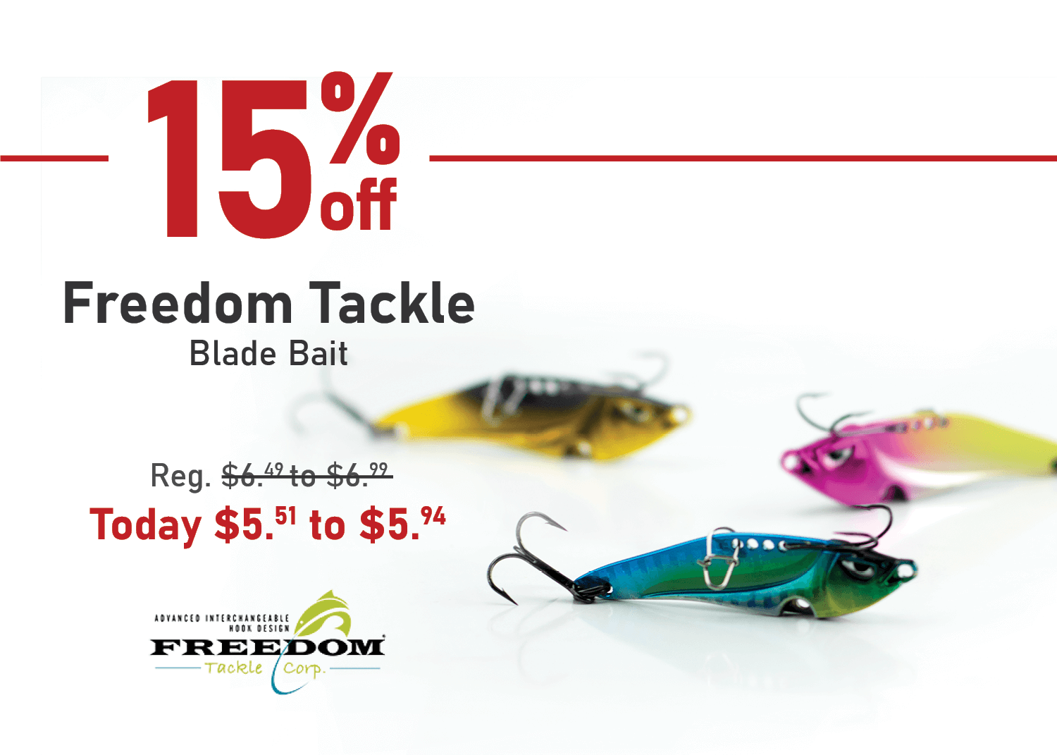 Save 15% on the Freedom Tackle Blade Bait