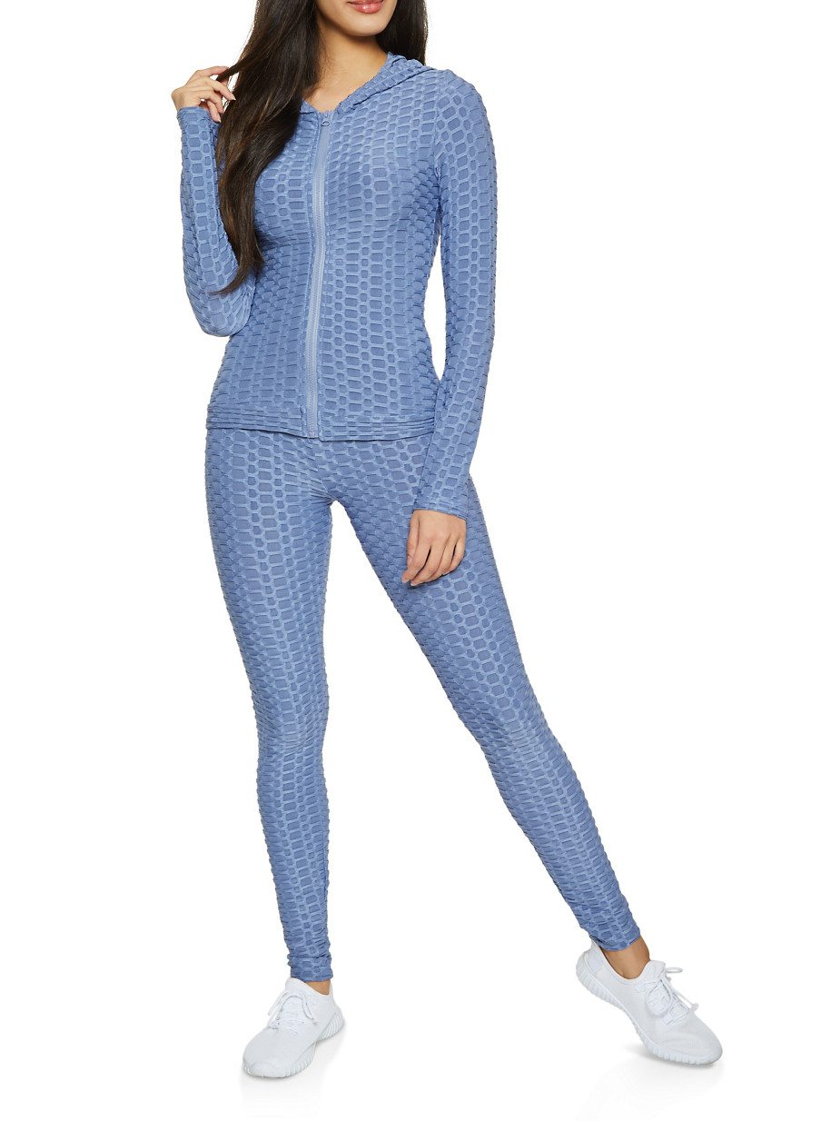 Textured Knit Hooded Top and Leggings Set