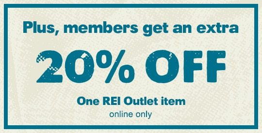 Plus, members get an extra 20% OFF One REI Outlet item - online only