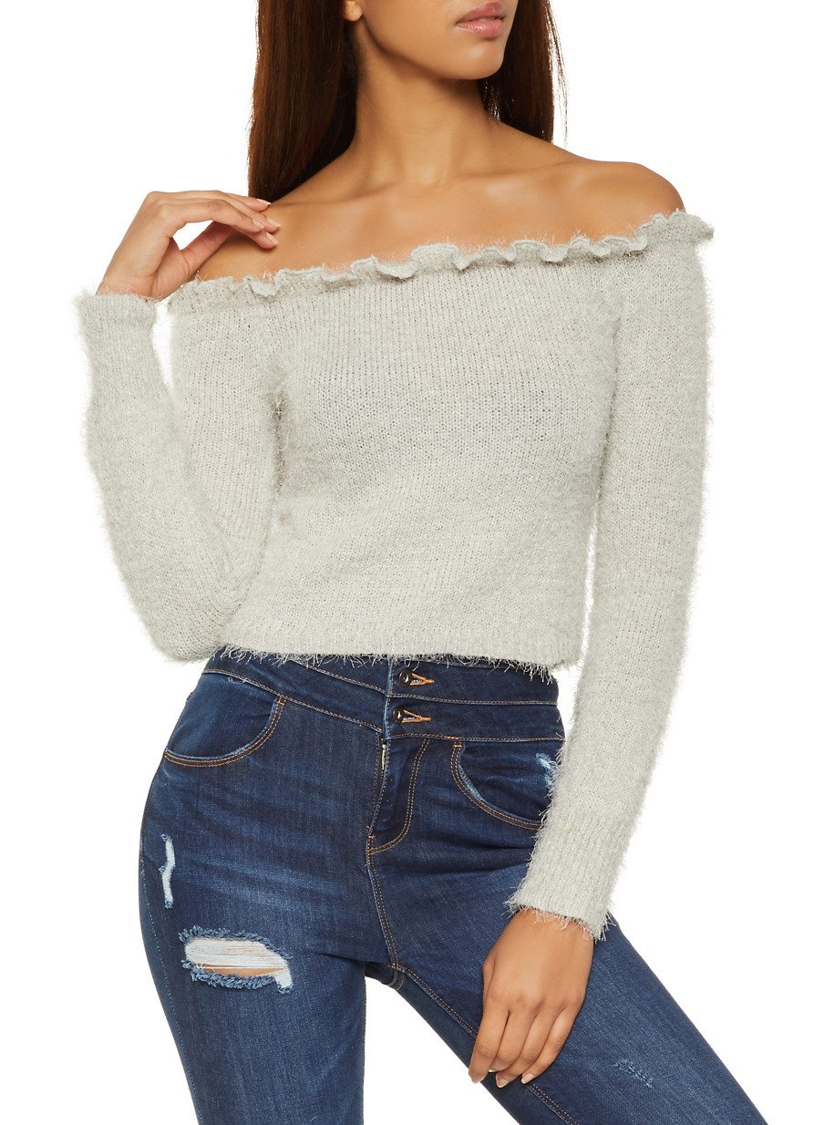 Feather Knit Off the Shoulder Sweater