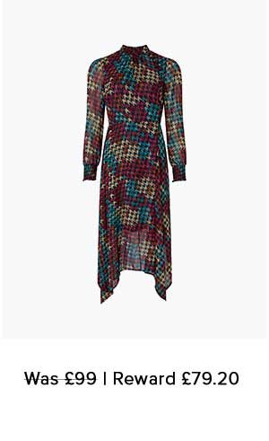 HAZEL HOUNDSTOOTH PRINT MIDI DRESS