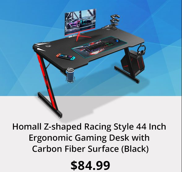 Homall Z-shaped Racing Style 44 Inch Ergonomic Gaming Desk with Carbon Fiber Surface (Black)