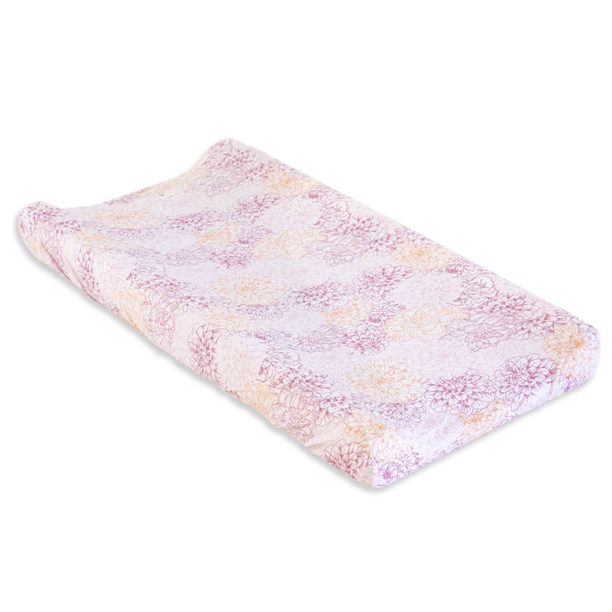 Peach Floral Print Organic Cotton BEESNUG™ Fitted Changing Pad Cover