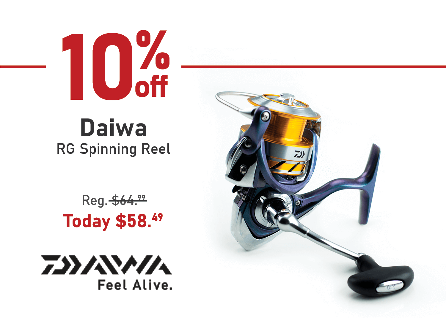 Save 10% on the Daiwa RG Spinning Reel