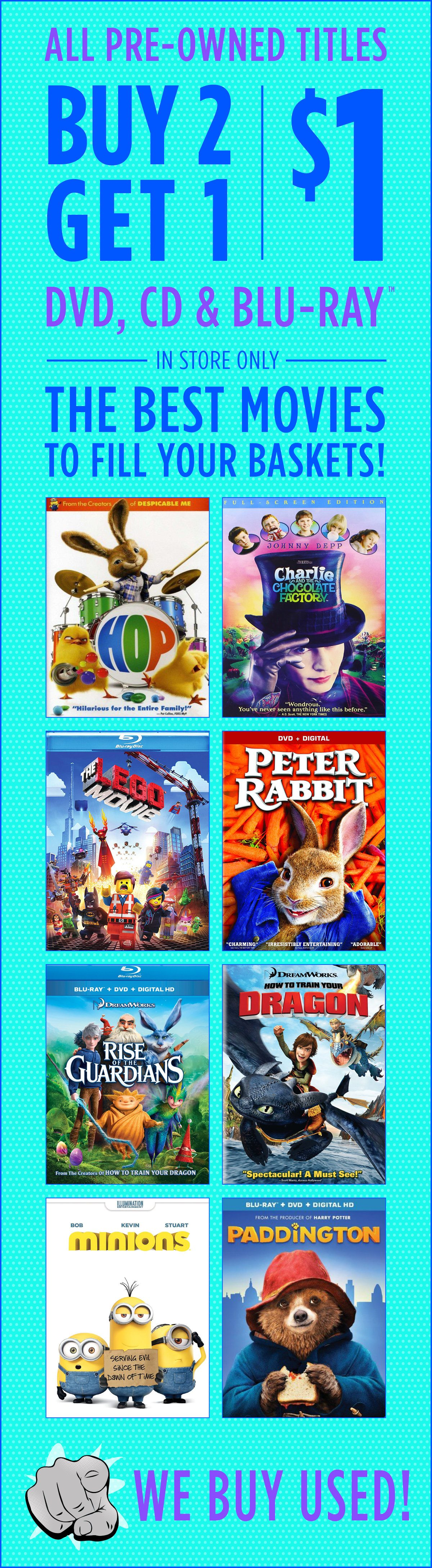 The best used movies are Buy 2 Get 1 for $1 - FYE Email Archive