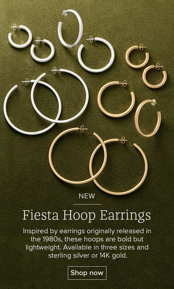NEW Fiesta Hoop Earrings - Inspired by earrings originally released in the 1980s, these hoops are bold but lightweight. Available in three sizes and sterling silver or 14K gold. Shop now