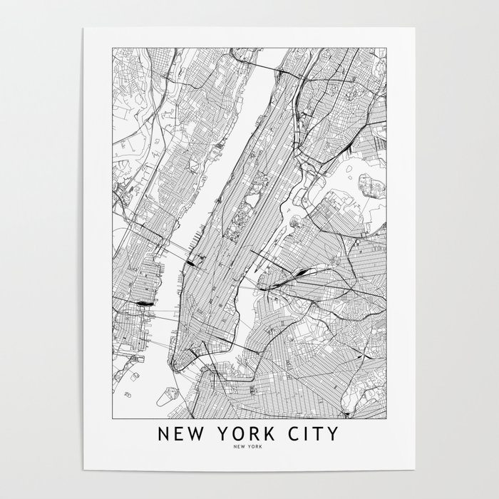 New York City White Map