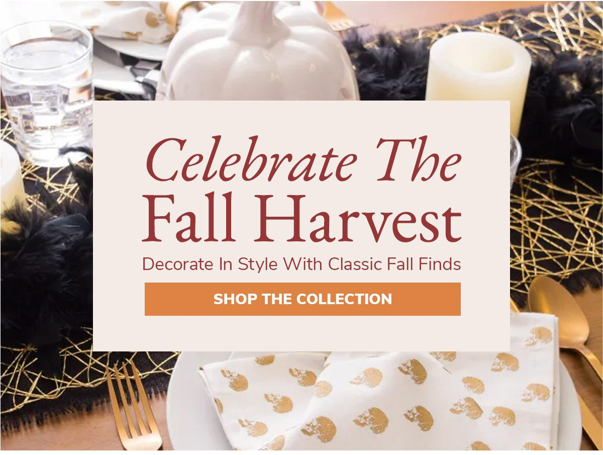 Celebrate the fall harvest. Decorate in Style with classic fall finds   SHOP THE COLLECTION