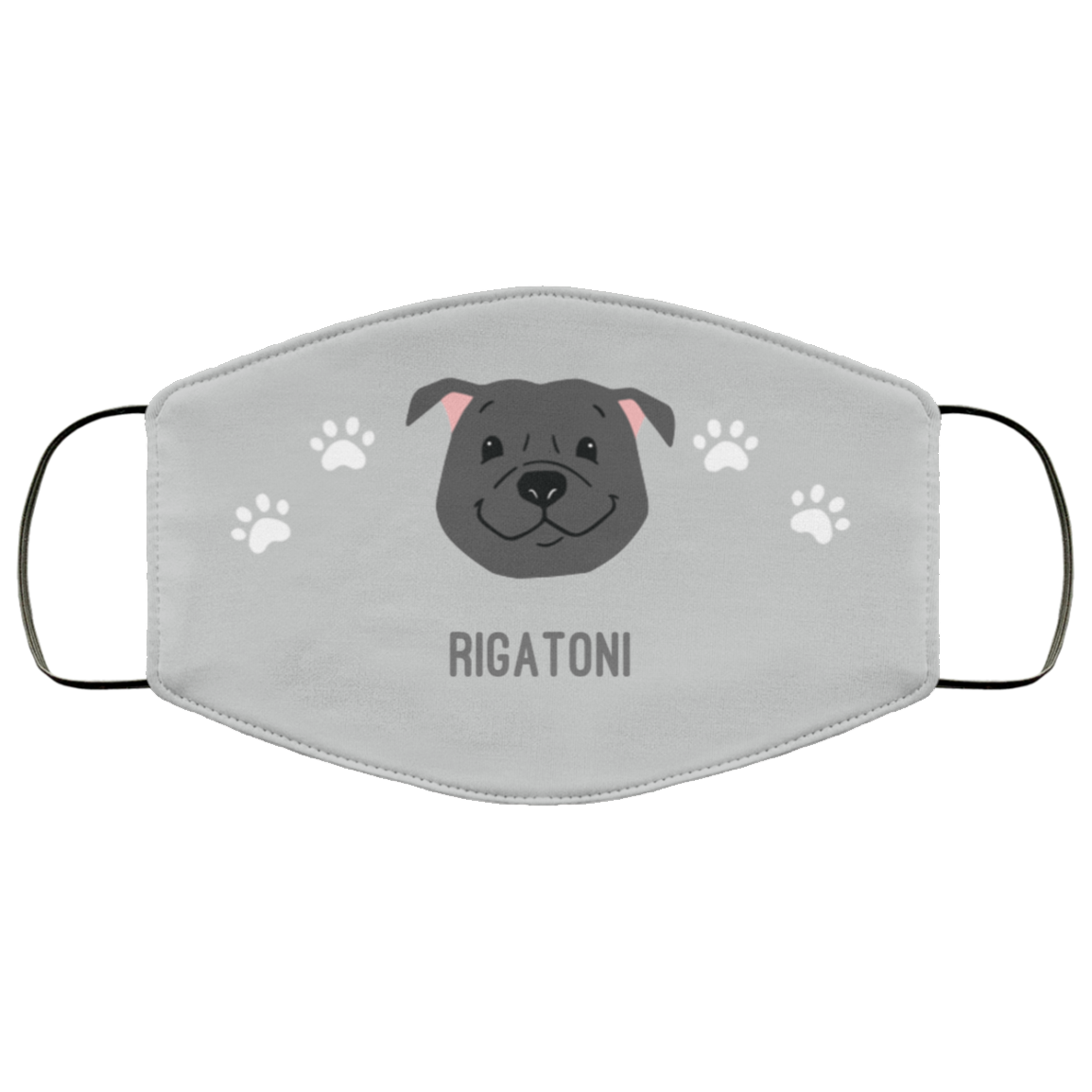 Black Pittie Personalized Protective Face Covering – Silver