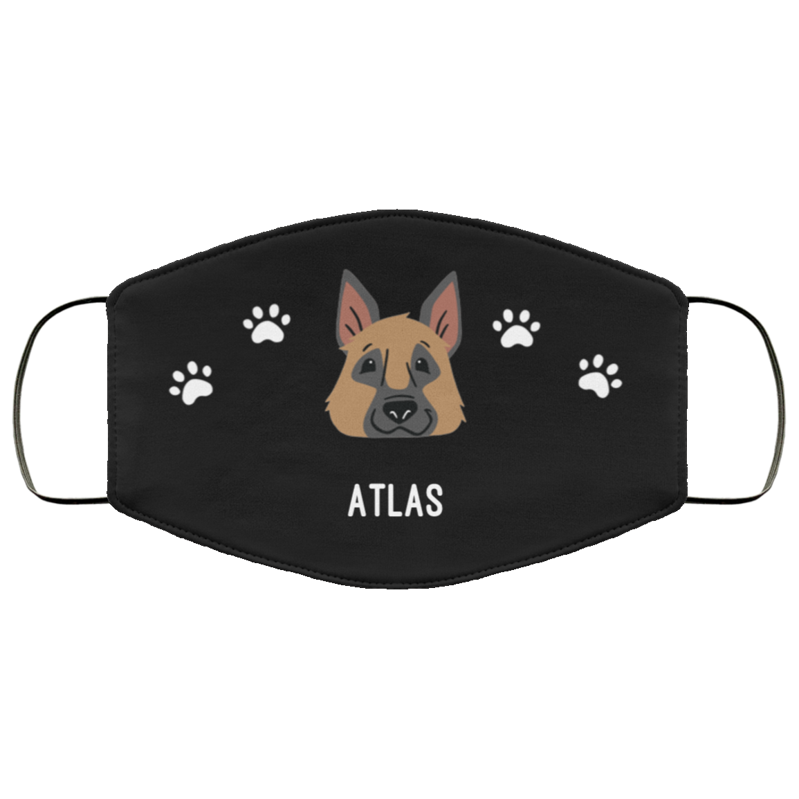 German Shepherd Personalized Protective Face Covering – Black
