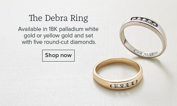The Debra Ring - Available in 18K palladium white gold or yellow gold and set with five round-cut diamonds. Shop now