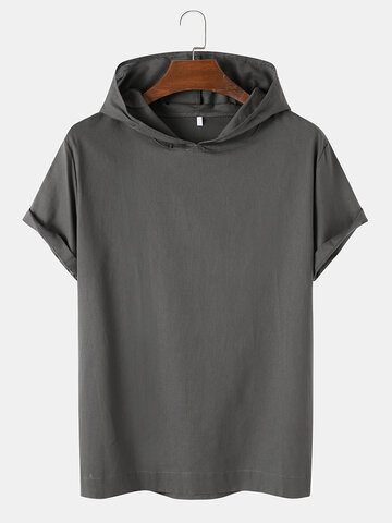 Solid Color Hooded T-Shirt