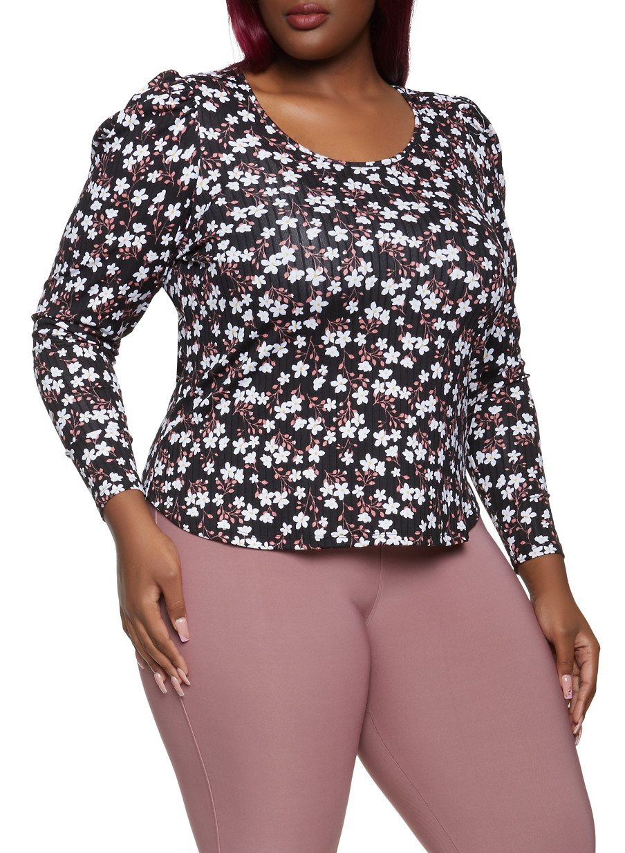 Plus Size Floral Ribbed Knit Top
