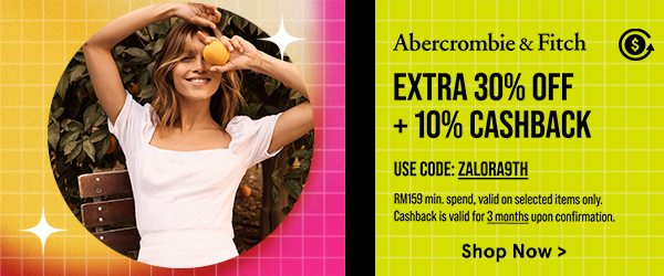 Abercrombie & Fitch: Extra 30% Off + 10% Cashback