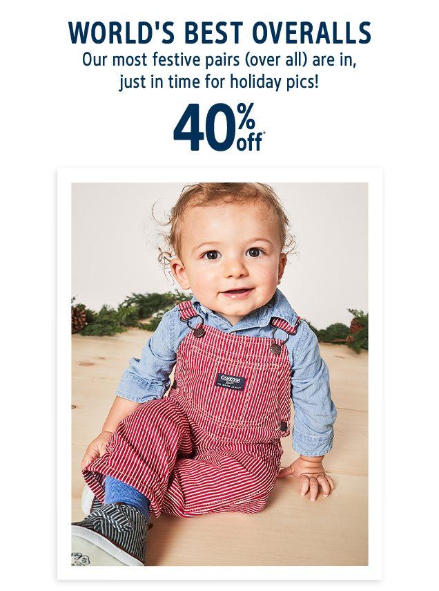 WORLD'S BEST OVERALLS | Our most festive pairs (over all) are in, just in time for holiday pics! | 40% off*