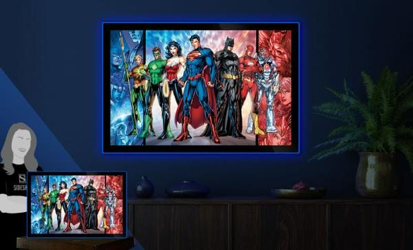 Justice League of America Comic Cover Large LED Poster Sign Wall Light by Brandlite