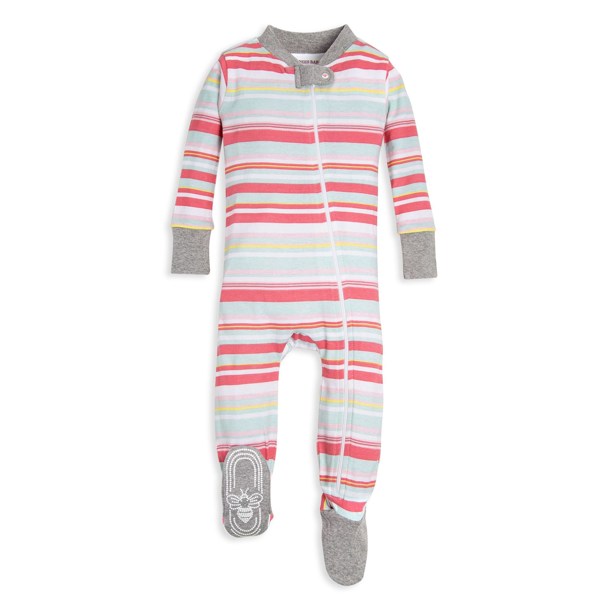 Vintage Multi-Stripe Organic Baby Zip Up Footed Pajamas