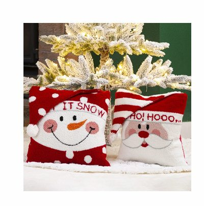 Santa and Snowman Hooked 3D Pillows Set of 2 | SHOP NOW