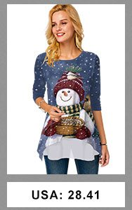 Christmas Snowman Print Round Neck Long Sleeve T Shirt