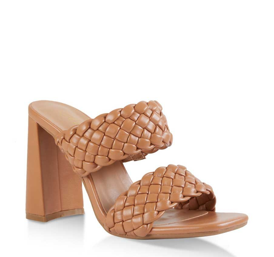 Braided Two Band High Heel Slide Sandals