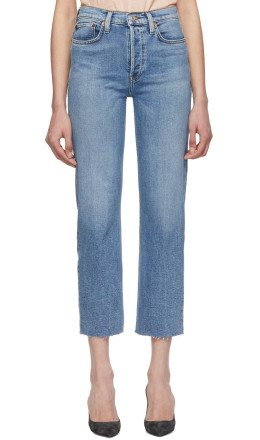 Re/Done - Blue Originals High-Rise Stove Pipe Jeans