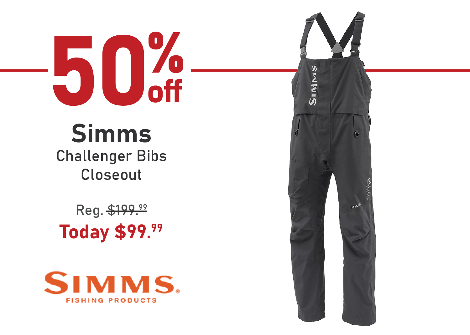 Take 50% off the Simms Challenger Bibs - Closeout