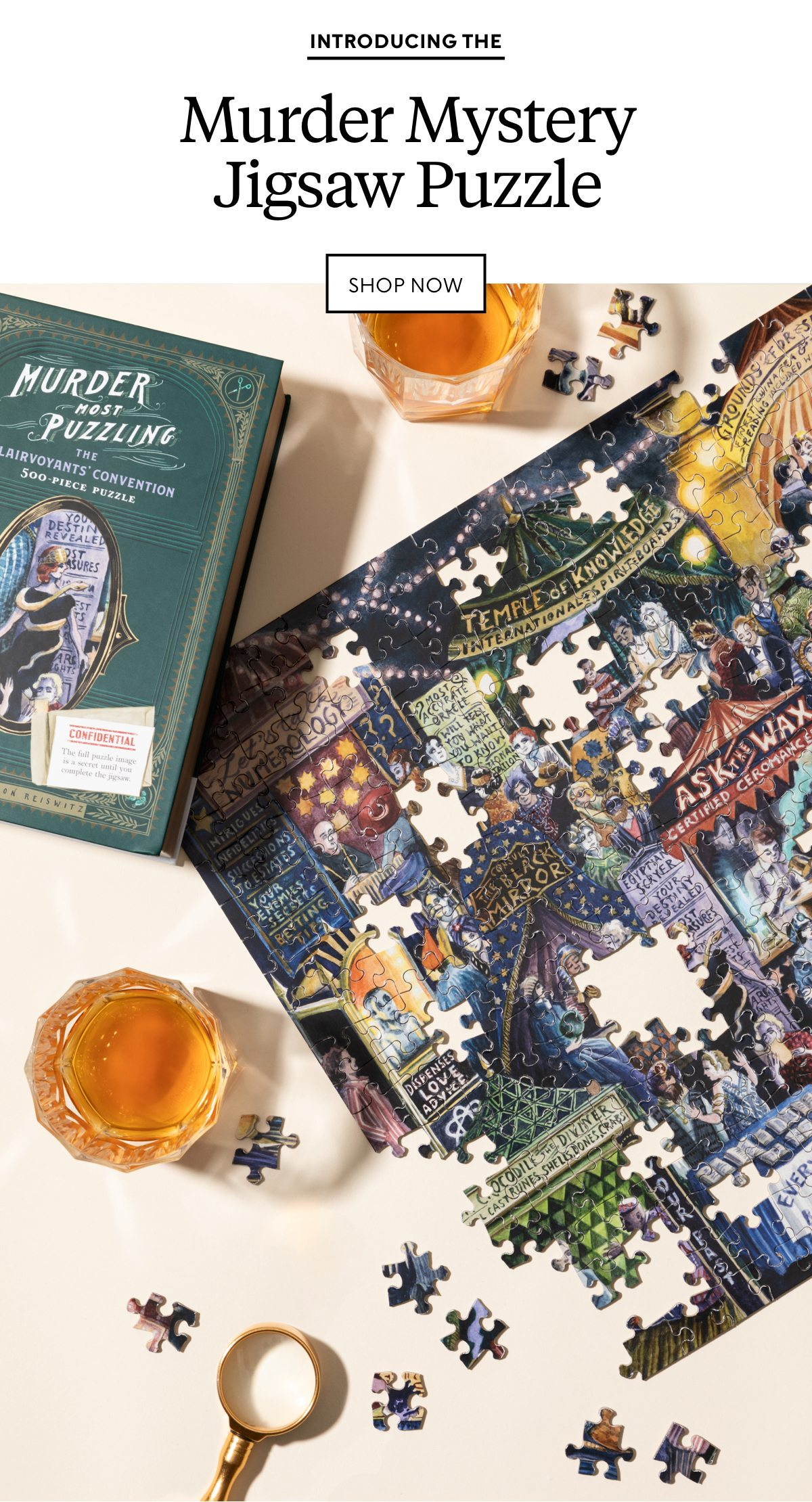 Introducing the Murder Mystery Jigsaw Puzzle. Shop now.