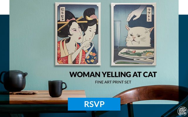 Woman Yelling at Cat Set of Two Fine Art Prints (Sideshow)