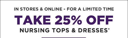 Take 25% OFF Dresses - In Stores & Online- For a limited time
