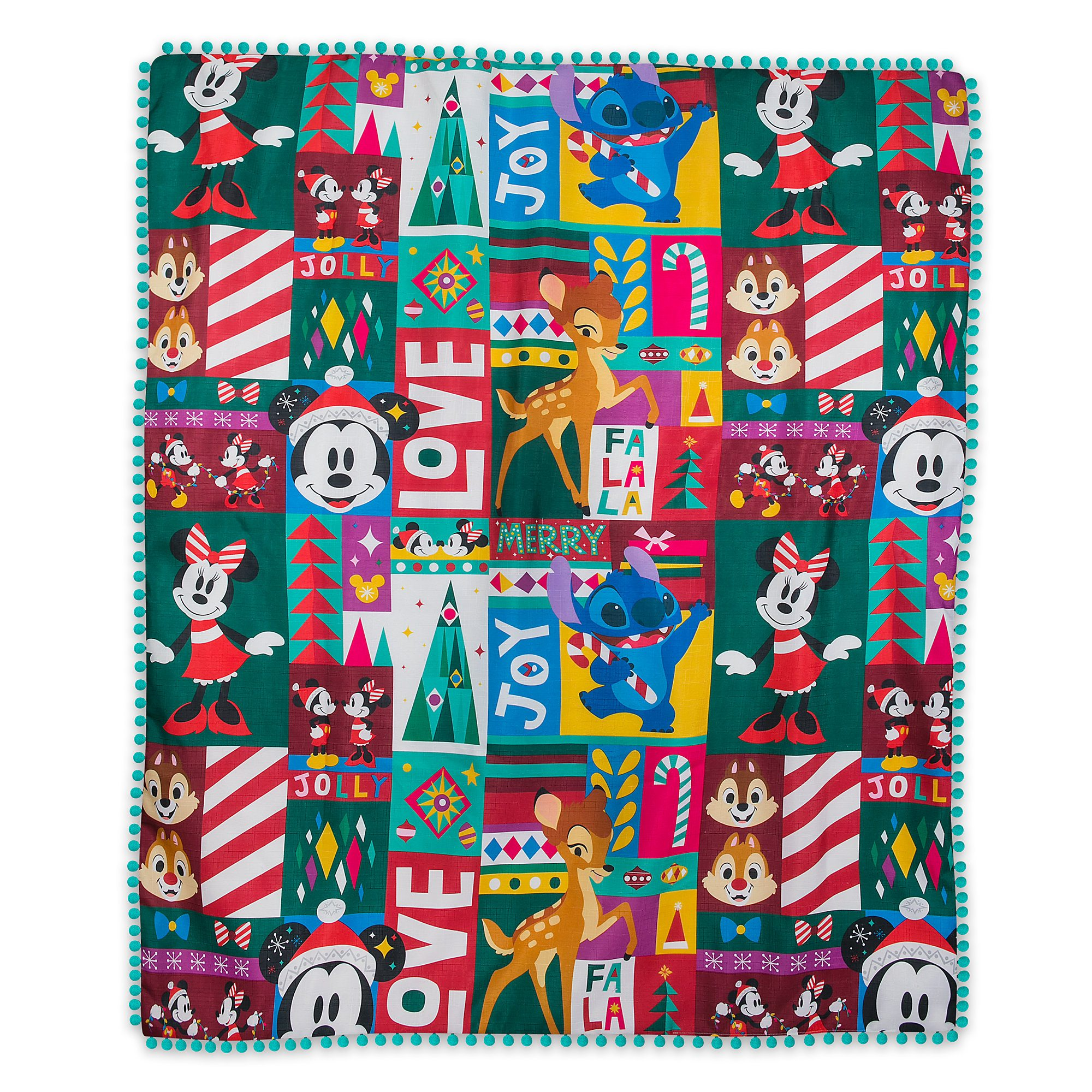 Santa Mickey Mouse and Friends Holiday Fleece Throw