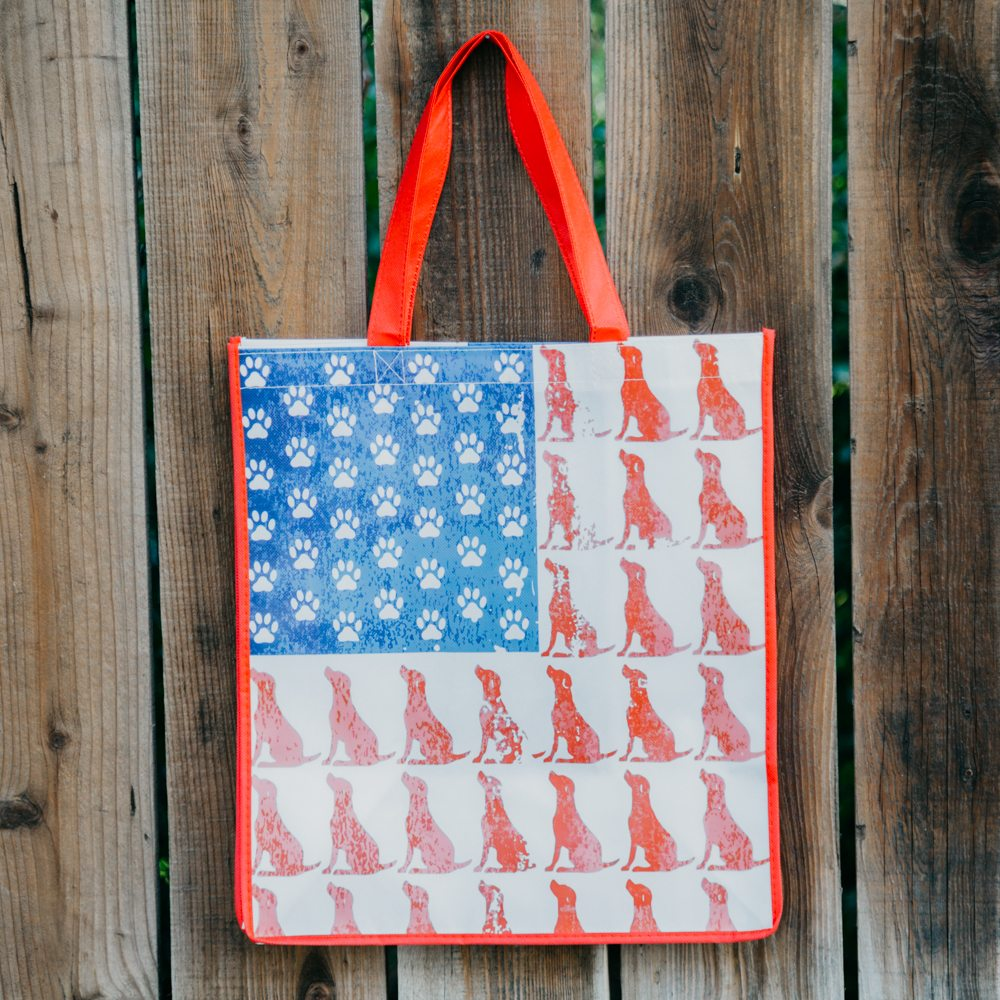 Image of Red Dog Blue Paw Grocery Bag - Red Trim