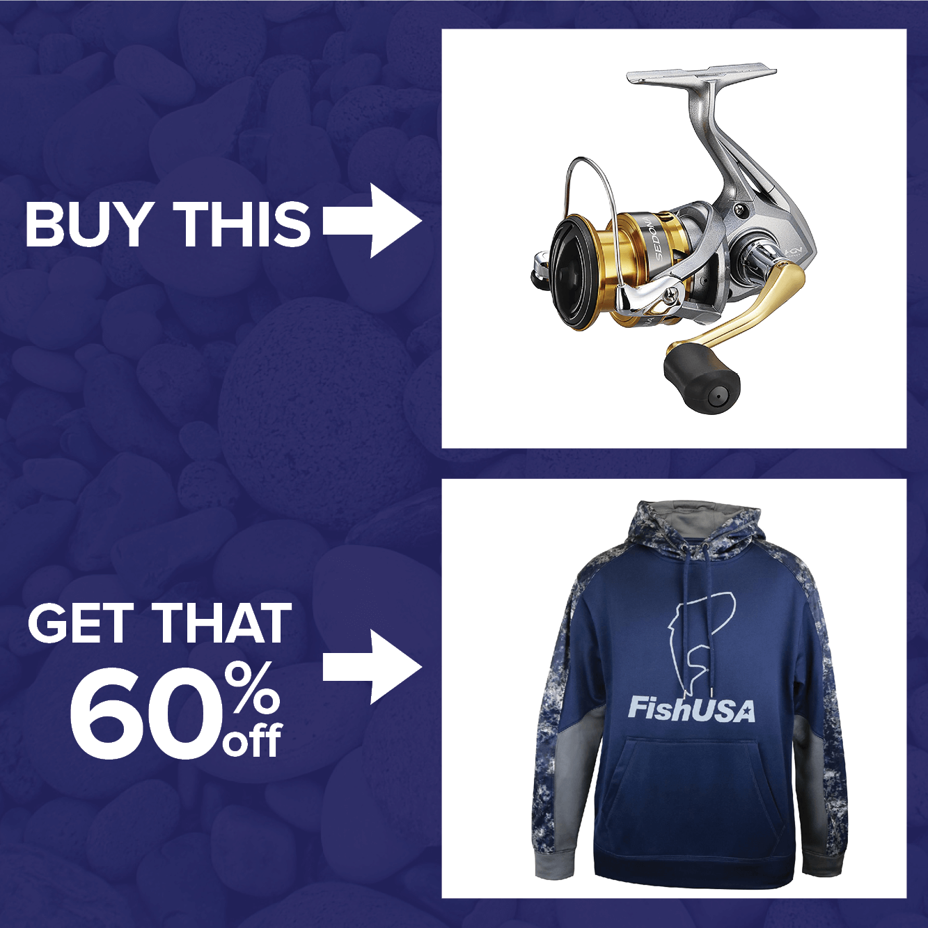 Buy a Shimano Sedona FI Spinning Reel & take 60% off all FishUSA Apparel